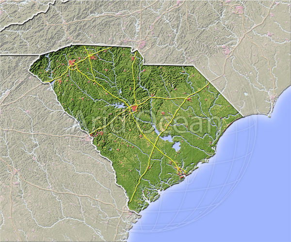 South Carolina, shaded relief map.