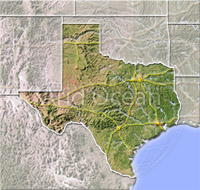 Texas, shaded relief map.