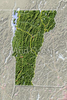 Vermont, shaded relief map.