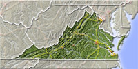 Virginia, shaded relief map.