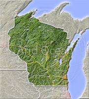 Wisconsin, shaded relief map.