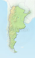 Argentina, shaded relief map.