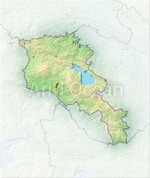 Armenia, shaded relief map.