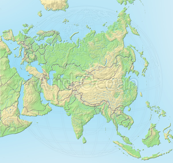 Asia, shaded relief map.
