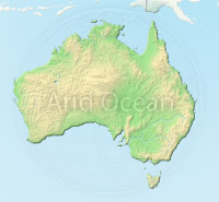 Australia, shaded relief map.