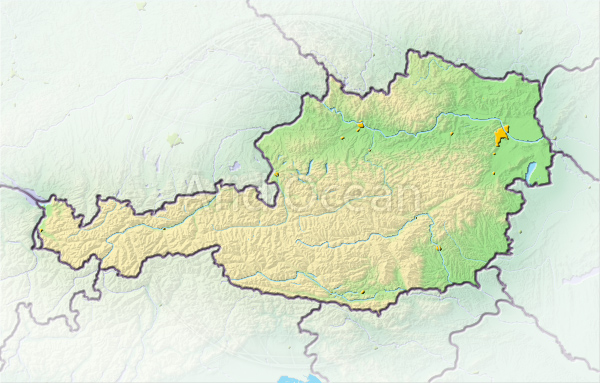 Austria, shaded relief map.