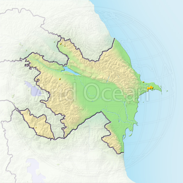 Azerbaijan, shaded relief map.