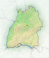 Baden-Wuerttemberg, shaded relief map.