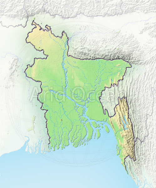 Bangladesh, shaded relief map.