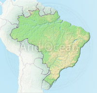 Brazil, shaded relief map.