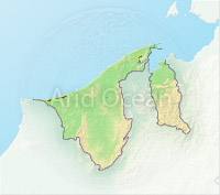 Brunei, shaded relief map.