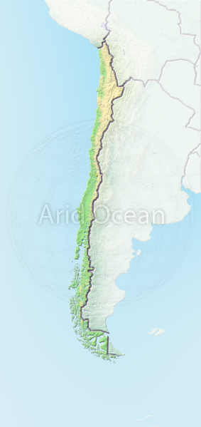 Chile, shaded relief map.
