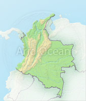 Colombia, shaded relief map.
