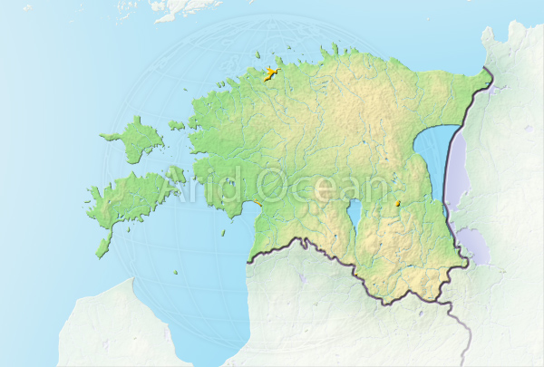 Estonia, shaded relief map.