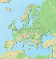 Europe, shaded relief map.