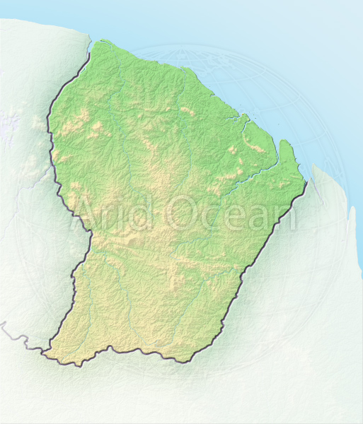 French Guiana, shaded relief map.