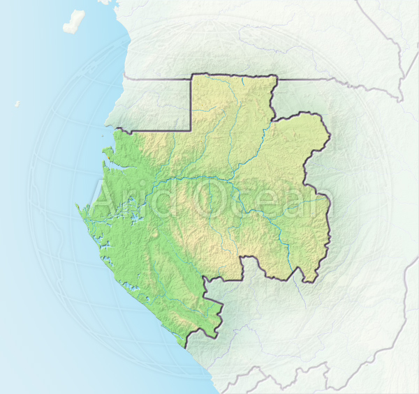 Gabon, shaded relief map.