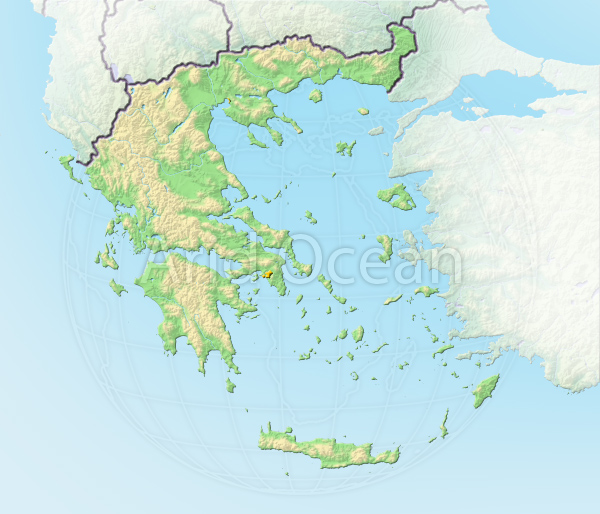 Greece, shaded relief map.