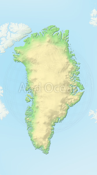 Greenland, shaded relief map.
