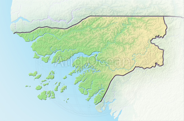 Guinea-Bissau, shaded relief map.