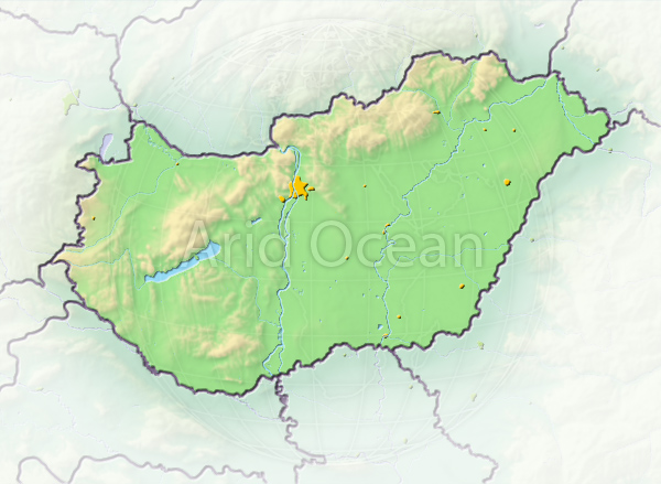 Hungary, shaded relief map.