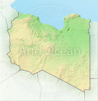 Libya, shaded relief map.