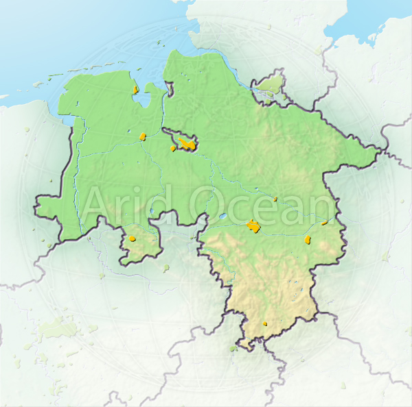 Lower Saxony, shaded relief map.