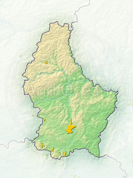 Luxembourg, shaded relief map.