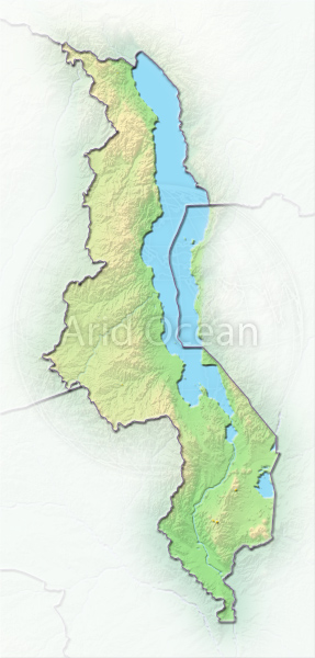 Malawi, shaded relief map.