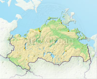 Mecklenburg-Vorpommern, shaded relief map.