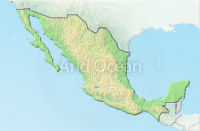 Mexico, shaded relief map.