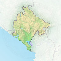 Montenegro, shaded relief map.