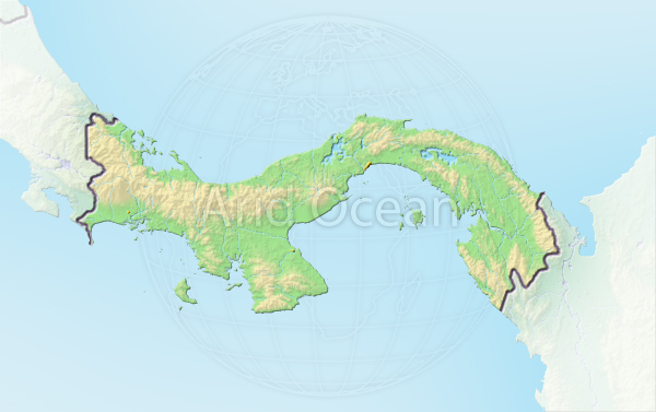 Panama, shaded relief map.