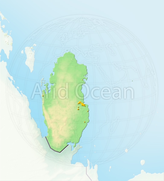 Qatar, shaded relief map.