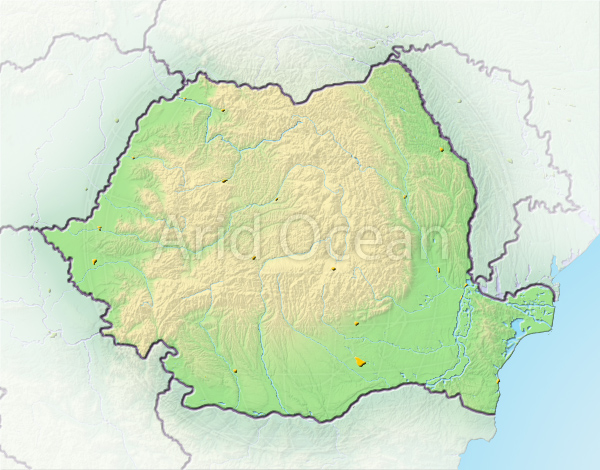 Romania, shaded relief map.