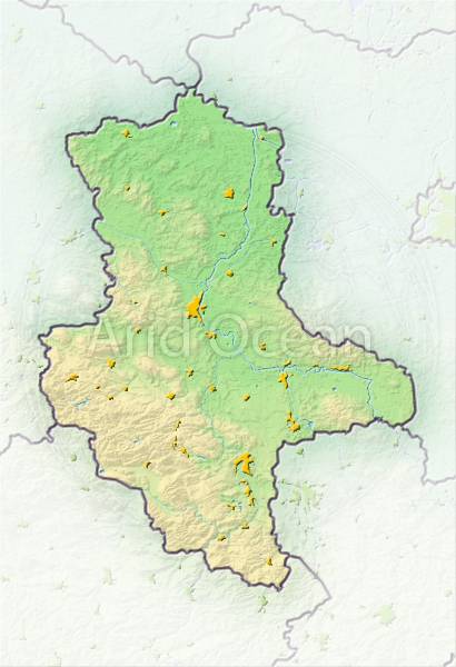 Saxony-Anhalt, shaded relief map.