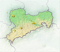 Saxony, shaded relief map.