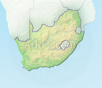 South Africa, shaded relief map.