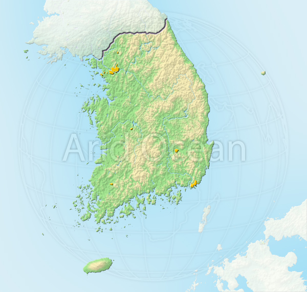South Korea, shaded relief map.