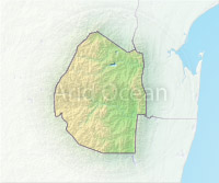 Swaziland, shaded relief map.
