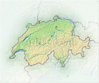 Switzerland, shaded relief map.