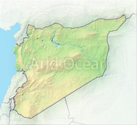 Syria, shaded relief map.