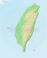 Taiwan, shaded relief map.
