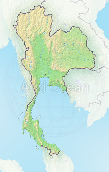 Thailand, shaded relief map.