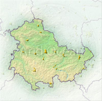 Thuringia, shaded relief map.