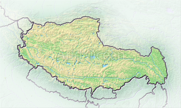 Tibet, shaded relief map.