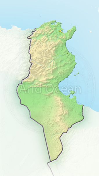 Tunisia, shaded relief map.