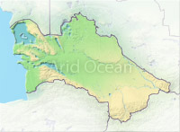 Turkmenistan, shaded relief map.