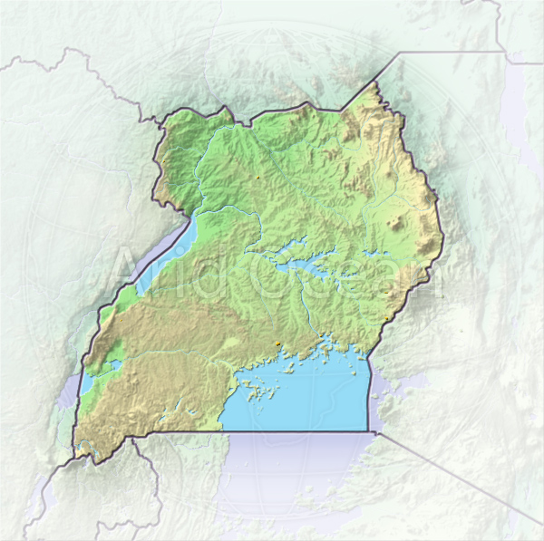 Uganda, shaded relief map.