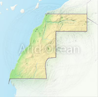 Western Sahara, shaded relief map.